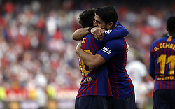 February 23, 2019 - Seville, Madrid, Spain - Luis Suarez (FC Barcelona) and Lionel Messi (FC Barcelona) are seen celebrating after scoring a goal during the La Liga match between Sevilla FC and Futbol Club Barcelona at Estadio Sanchez Pizjuan in Seville, Spain. (Credit Image: © Manu Reino/SOPA Images via ZUMA Wire)