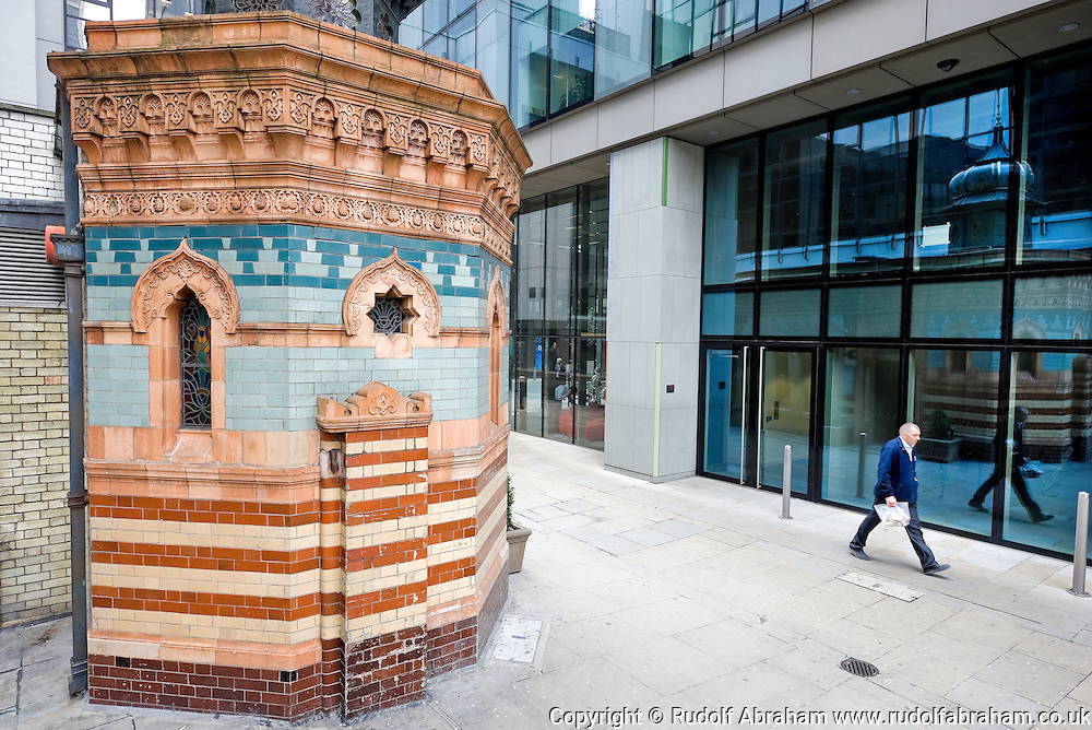 Victorian Turkish bath in Bishopsgate Churchyard, just off Old Broad Street, London EC2, UK. Built 1895 by Henry and James Forder Nevill, it miraculously survived both the Blitz of WW2 and the massive property redevelopment of this area since the 1970s. It is now a pizza restaurant.