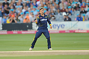 Andrew Salter of Glamorgan celebrates the wicket of T Bruce during the Vitality T20 Blast South Group match between Sussex County Cricket Club and Glamorgan County Cricket Club at the 1st Central County Ground, Hove, United Kingdom on 14 August 2018.