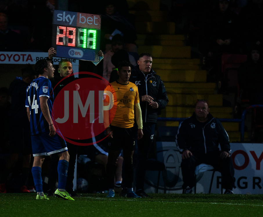 General view of a substitution - Mandatory by-line: Jack Phillips/JMP - 02/11/2019 - FOOTBALL - Crown Oil Arena - Rochdale, England - Rochdale v Bristol Rovers - English Football League One