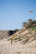 A young boy flying a kite on the beach