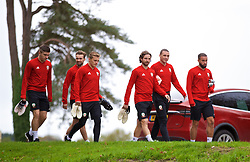 CARDIFF, WALES - Monday, October 15, 2018: Wales' players arrive for a training session at the Vale Resort ahead of the UEFA Nations League Group Stage League B Group 4 match between Republic of Ireland and Wales. L-R: Declan John, Gwion Edwards, George Thomas, Joe Allen, James Chester, Ashley 'Jazz' Richards. (Pic by David Rawcliffe/Propaganda)