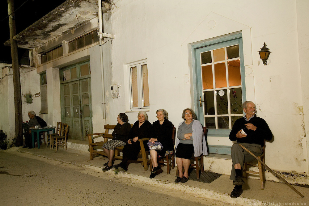 Old people in villages still keeping the old tradition of siting outside their homes chatting in the evenings.