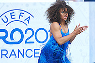 Paris, France - 2016 June 10: Dancer performs while opening ceremony during France v Romania match while Soccer European Championships UEFA EURO 2016 at Stade de France on June 10, 2016 in Paris, France.<br /> <br /> Adam Nurkiewicz declares that he has no rights to the image of people at the photographs of his authorship.<br /> <br /> Picture also available in RAW (NEF) or TIFF format on special request.<br /> <br /> Any editorial, commercial or promotional use requires written permission from the author of image.<br /> <br /> Mandatory credit:<br /> Photo by © Adam Nurkiewicz
