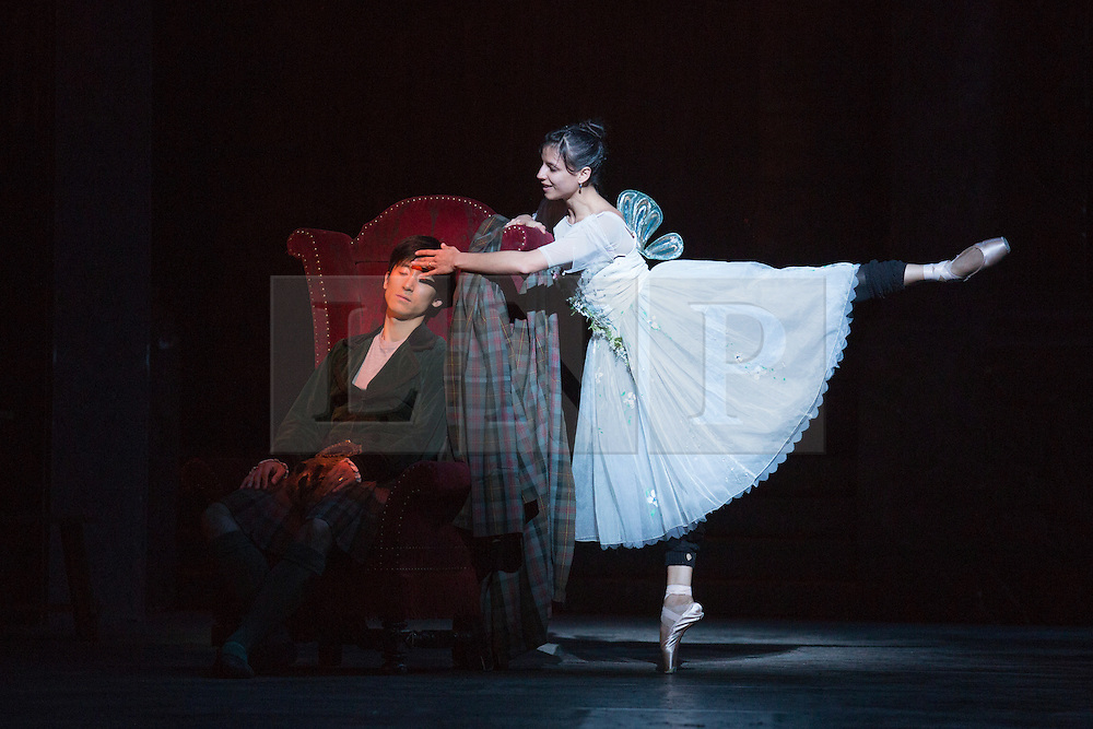 © Licensed to London News Pictures. 04/08/2015. London, UK. Pictured: Yanela Pinera as The Sylphide and Qi Huan as James. Dress rehearsal of La Sylphide (some parts in partial costume). Australia's Queensland Ballet makes its London Coliseum debut with La Sylphide, the August Bournonville ballet is choreographed by Peter Schaufuss. Performances at the Coliseum from 5 to 8 August 2015. Photo credit: Bettina Strenske/LNP