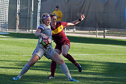04 November 2016:  Emily Rickett gets position on Ciara Murray during an NCAA Missouri Valley Conference (MVC) Championship series women's semi-final soccer game between the Loyola Ramblers and the Evansville Purple Aces on Adelaide Street Field in Normal IL