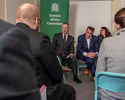 Pictured: Pete Wishart, Tommy Shappard and Danielle Rowley<br /> <br /> Today at the Crew 2000 offices in Edinburgh, the chair of the Scottish Affairs Committee Pete Wishart MP launched an inquiry into drug misuse in Scotland.  He was joined by members of his committee, Tommy Shephard (SNP), Danielle Rowley MP (Labour) and Christine Jardine (Lib Dem)<br /> <br /> <br /> Ger Harley | EEm 4 March 2019