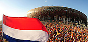 Dutch fans get into the mood before the 2010 FIFA World Cup South Africa  Final match between Holland and Spain at Soccer City  on 11 July, 2010 in Johannesburg, South Africa.