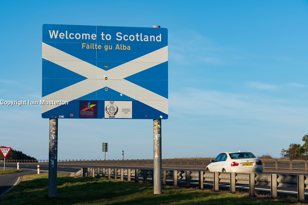 Road sign at Scottish Border on A1 at the Borders and Northumberland, UK