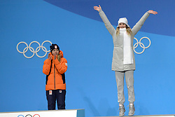 February 17, 2018 - Pyeongchang, South Korea - NATALIA VORONINA of Russia celebrates getting the bronze medal in the Ladies' 5000m speed skating event in the PyeongChang Olympic Games. (Credit Image: © Christopher Levy via ZUMA Wire)