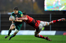 Anthony Allen of Leicester Tigers takes on the London Welsh defence - Photo mandatory by-line: Patrick Khachfe/JMP - Mobile: 07966 386802 23/11/2014 - SPORT - RUGBY UNION - Oxford - Kassam Stadium - London Welsh v Leicester Tigers - Aviva Premiership