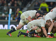 Twickenham, Great Britain, England's Ben MORGAN playing No.8 catching the attention of captain Chris ROBSHAW, during a scrum, QBE Autumn International, England vs New Zealand, RFU Stadium Twickenham, Surrey.  Saturday 08/11/2014 [Mandatory Credit; Peter SPURRIER/Intersport Images]