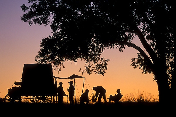 silhouette of a group cooking at the back of a wagon