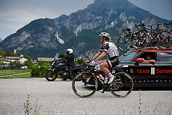 Leah Kirchmann (CAN) gets bottles from the team car at Giro Rosa 2018 - Stage 9, a 104.7 km road race from Tricesimo to Monte Zoncolan, Italy on July 14, 2018. Photo by Sean Robinson/velofocus.com