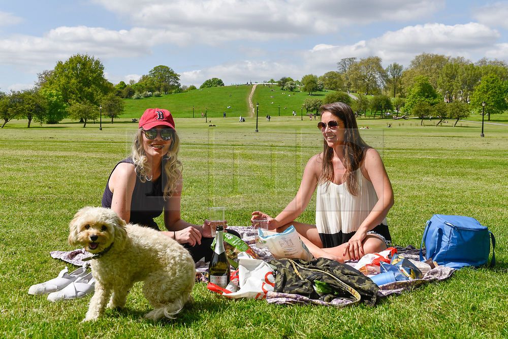 © Licensed to London News Pictures. 04/05/2018. LONDON, UK.  Londoners Christina Foster (L) and Alessandra Porto (R), along with a cavapoo named Noah, enjoy a picnic in the sunshine and warm temperatures in Primrose Hill.  Forecasters predict that the upcoming Bank Holiday Monday could see temperatures exceed 25C.  Photo credit: Stephen Chung/LNP