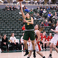 1st year guard Carolina Goncalves (8) of the Regina Cougars during the Women's Basketball home game on January 27 at Centre for Kinesiology, Health and Sport. Credit: Arthur Ward/Arthur Images
