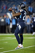Tennessee Titans running back Derrick Henry (22) catches a pass during pregame warmups before the week 14 regular season NFL football game against the Jacksonville Jaguars on Thursday, Dec. 6, 2018 in Nashville, Tenn. The Titans won the game 30-9. (©Paul Anthony Spinelli)