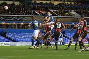 Birmingham City defender Michael Morrison scores the opening goal with a header during the The FA Cup third round match between Birmingham City and Bournemouth at St Andrews, Birmingham, England on 9 January 2016. Photo by Alan Franklin.