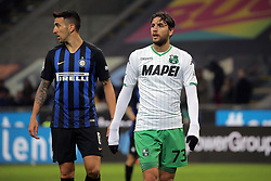 January 19, 2019 - Milan, Milan, Italy - Manuel Locatelli #73 of US Sassuolo and Matias Vecino #8 of FC Internazionale Milano during the serie A match between FC Internazionale and US Sassuolo at Stadio Giuseppe Meazza on January 19, 2019 in Milan, Italy. (Credit Image: © Giuseppe Cottini/NurPhoto via ZUMA Press)