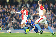 Slavia Prague midfielder Petr Sevcik (23) performs a foul on Chelsea midfielder Mateo Kovacic (17) during the Europa League  quarter-final, leg 2 of 2 match between Chelsea and Slavia Prague at Stamford Bridge, London, England on 18 April 2019.