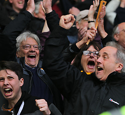 Hull City fans celebrate after Andrew Robertson (Not Pictured) scored their third goal - Mandatory by-line: Jack Phillips/JMP - 14/05/2016 - FOOTBALL - iPro Stadium - Derby, England - Derby County v Hull City - Sky Bet Championship Play-Off Semi-Final First-Leg