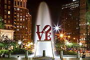 Love Park is seen at night in Philadelphia, Pennsylvania on May 27th 2012. (Photo by Brian Garfinkel)