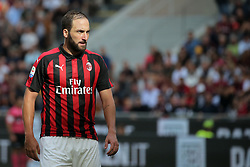October 7, 2018 - Milan, Milan, Italy - Gonzalo Higuain #9 of AC Milan during the serie A match between AC Milan and Chievo Verona at Stadio Giuseppe Meazza on October 7, 2018 in Milan, Italy. (Credit Image: © Giuseppe Cottini/NurPhoto/ZUMA Press)