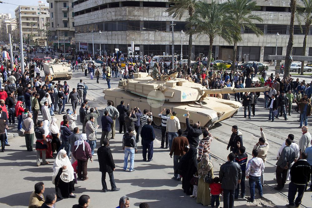 Uprising in Alexandria. AFRICA, EGYPT, ALEXANDRIA,29.01.2011: Tanks enter the city a day after violent clashes between protesters and police forces.
