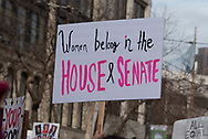 "San Francisco, USA. 19th January, 2019. The Women's March San Francisco proceeds down Market Street. A protester sign held in the air reads: ""Women belong in the House and Senate."" Credit: Shelly Rivoli/Alamy Live News"