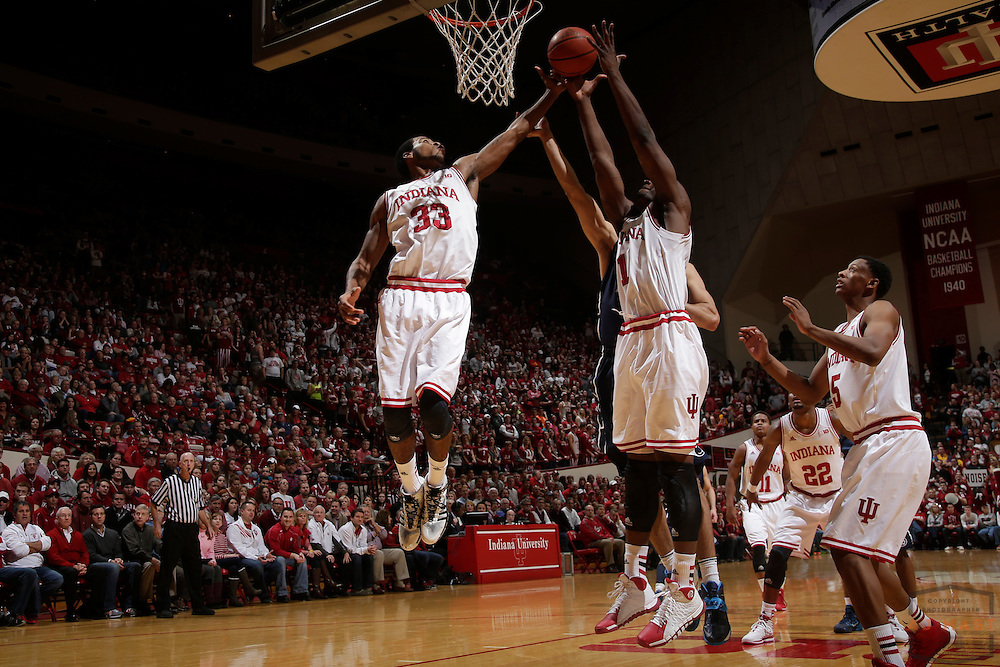 12 February 2014: Indiana Forward Jeremy Hollowell (33) as the Indiana Hoosiers played Penn State in a college basketball game in Bloomington, Ind.