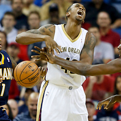 Oct 30, 2013; New Orleans, LA, USA; Indiana Pacers center Ian Mahinmi (28) knocks the ball away from New Orleans Pelicans small forward Lance Thomas (42) during the first half of a game at New Orleans Arena. Mandatory Credit: Derick E. Hingle-USA TODAY Sports