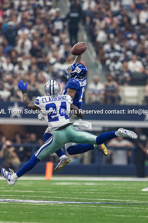 11 SEP 2016: New York Giants wide receiver Odell Beckham (13) misses a pass as Dallas Cowboys cornerback Morris Claiborne (24) defends during the game between the Dallas Cowboys and the New York Giants at AT&T Stadium in Arlington, TX. New York defeats Dallas 20-19. (Photo by Matthew Pearce/Icon Sportswire)