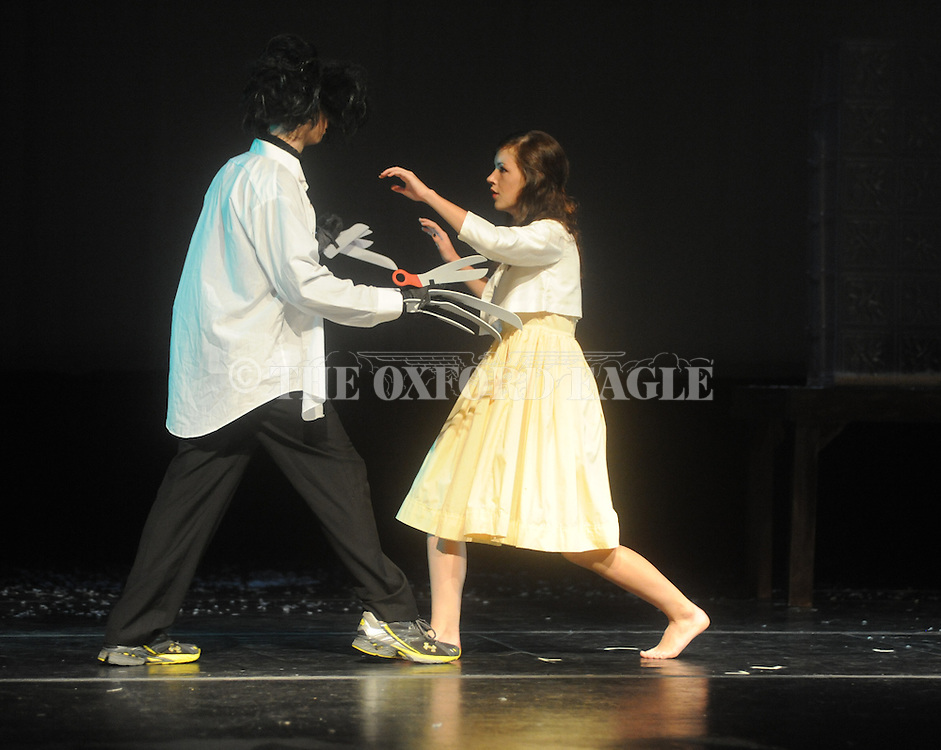 """Oxford High School students Colin Schultze (left) and Meredith Sanford rehears for the production of """"Scream"""" in Oxford, Miss. on Wednesday, October 26, 2011."""