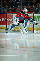 KELOWNA, BC - OCTOBER 12: Roman Basran #30 of the Kelowna Rockets scuffs the crease at the start of third period against the Kamloops Blazers Prospera Place on October 12, 2019 in Kelowna, Canada. (Photo by Marissa Baecker/Shoot the Breeze)