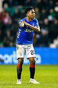 Alfredo Morelos (#20) of Rangers indicates the he felt that his shot hit an arm in the penalty box during the Ladbrokes Scottish Premiership match between Hibernian and Rangers at Easter Road, Edinburgh, Scotland on 19 December 2018.