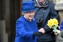 HRH the Queen and Prince Philip (not in frame)  visit Oxford to hand out the Maundy Money at Christchurch Cathedral<br /> Oxford, United Kingdom<br /> 28 March, 2013<br /> Picture by Mike Webster / i-Images