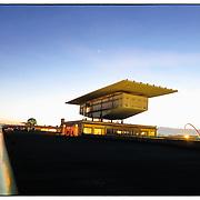 The Jewel-box (Scrigno), planned by architect Renzo Piano, hosts the Pinacoteca Gianni e Marella Agnelli at Lingotto in Turin,  On the Lingotto test track some old Fiat cars. ..Lo Scrigno, progettato dall'architetto Renzo Piano, ospita la Pinacoteca Gianni e Marella Agnelli al Lingotto,