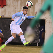 Marcos Rojo, Argentina, in action during the Argentina Vs Ecuador International friendly football match at MetLife Stadium, New Jersey. USA. 31st march 2015. Photo Tim Clayton