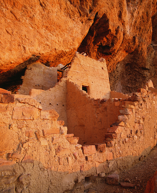 0117-1016 ~ Copyright: George H. H. Huey ~ Cliff dwelling at the upper pueblo ruin built and occupied by Salado culture people in the 14th century. Tonto National Monument, Arizona.