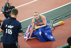 London, August 12 2017 . Sally Pearson, Australia, after winning the women's 100m hurdles final on day nine of the IAAF London 2017 world Championships at the London Stadium. © Paul Davey.