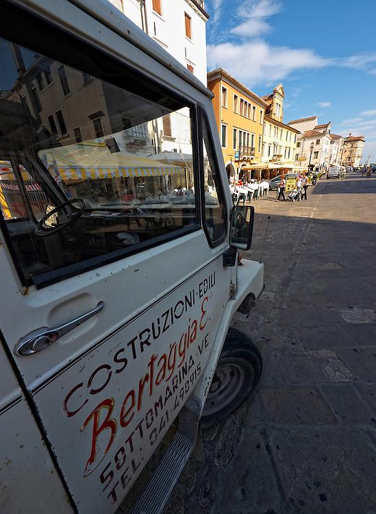 Italy - Chioggia - Truck on pedestrian zone