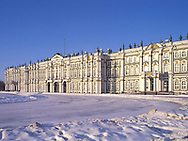 The Hermitage and Palace Square after snow <br /> in winter<br /> St. Petersburg, Russia