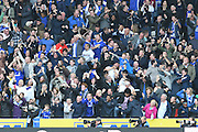 Chelsea fans celebrate Chelsea midfielder Willian (22) scoring a goal to go 1-0 up  during the Premier League match between Hull City and Chelsea at the KCOM Stadium, Kingston upon Hull, England on 1 October 2016. Photo by Ian Lyall.