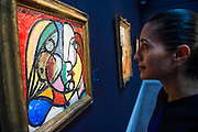 Sotheby's London Exhibition of Sale Highlights from the Forthcoming Major New York Auctions of Contemporary and Impressionist and Modern Art, including exceptional Diamonds from Geneva. The auctions will include: $25-35 million masterpiece by Gerhard Richter; Picaso - Tete De Marie Therese $15-20m (pictured) They will take place in New York and Geneva 11-15 April 2014. Sotheby's, New Bond St, London, UK.