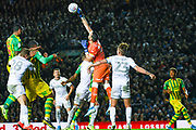 Leeds United goalkeeper Francisco Casilla (13) punches clear during the EFL Sky Bet Championship match between Leeds United and West Bromwich Albion at Elland Road, Leeds, England on 1 October 2019.