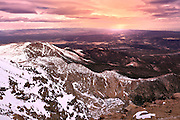 Sunset from the top of Pikes Peak Mountain in Colorado.