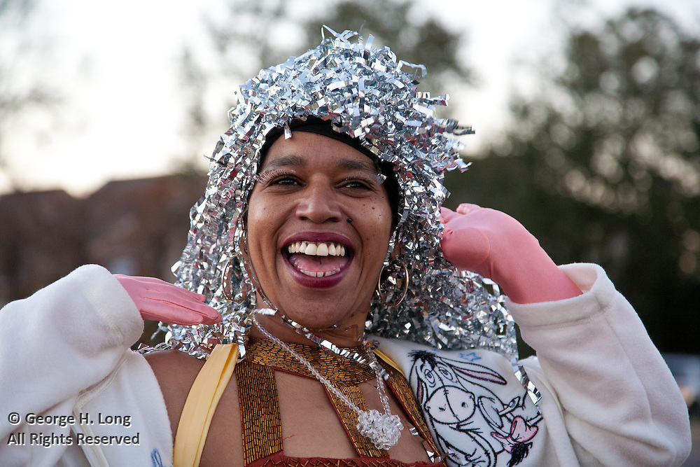 Phyllis Montana-Leblanc rides in the Krewe of Brid Mardi Gras parade in Lakeview as the Goddess of Arts and Letters