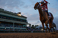 HALLANDALE BEACH, FL - JANUARY 27:Florent Geroux celebrates as he wins the Pegasus World Cup Invitational aboard Gun Runner #10 at Gulfstream Park Race Track on January 27, 2018 in Hallandale Beach, Florida. (Photo by Alex Evers/Eclipse Sportswire/Getty Images)