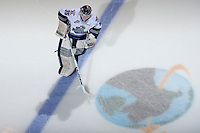 KELOWNA, CANADA - NOVEMBER 20: Coleman Vollrath #35 of the Victoria Royals skates with the puck during warm up against the Kelowna Rockets on November 20, 2013 at Prospera Place in Kelowna, British Columbia, Canada.   (Photo by Marissa Baecker/Shoot the Breeze)  ***  Local Caption  ***