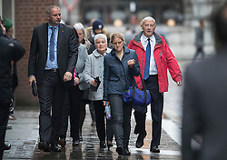 © Licensed to London News Pictures. 14/11/2016. London, UK. Gordon Leadbeater (R) father of murdered MP Jo Cox attends the trial of defendent Thomas Mair at The Old Bailey with Jo's sister Kim Leadbeater (2L) and mother Jean Leadbeater (3L). Mair allegedly shot and stabbed the 41-year-old Member of Parliament outside her constituency surgery in Birstall, near Leeds, Yorkshire on June 16 this year. Photo credit: Peter Macdiarmid/LNP